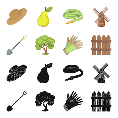 A shovel with a handle, a tree in the garden, gloves for working on a farm, a wooden fence. Farm and gardening set collection icons in black,cartoon style vector symbol stock illustration .