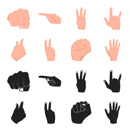 Open fist, victory, miser. Hand gesture set collection icons in black,cartoon style vector symbol stock illustration .