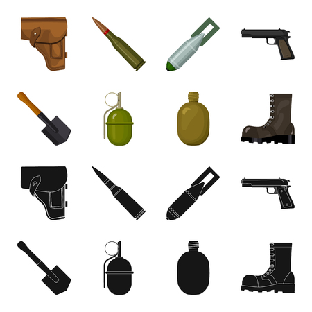 Sapper blade, hand grenade, army flask, soldier s boot. Military and army set collection icons in black,cartoon style vector symbol stock illustration .