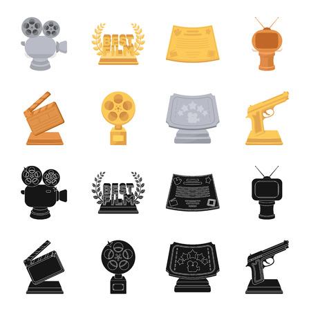 Gouden pistool, zilveren prijs voor de beste ondersteunende rol en andere prijzen. Film awards set collectie iconen in zwart, cartoon stijl vector symbool stock illustratie web. Vector Illustratie