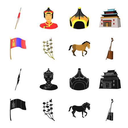 National flag, horse, musical instrument, steppe plant. Mongolia set collection icons in black,cartoon style vector symbol stock illustration web.