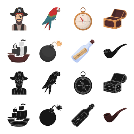 Pirate, bandit, ship, sail .Pirates set collection icons in black,cartoon style vector symbol stock illustration web.