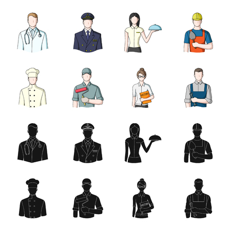 Cook, painter, teacher, locksmith mechanic. Profession set collection icons in black, cartoon style vector symbol stock illustration