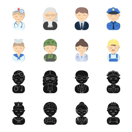 Sailor, soldier, scientist, builder. Profession set collection icons in black, cartoon style vector symbol stock illustration