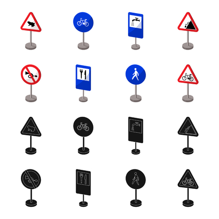 Different types of road signs black, cartoon icons in set collection for design. Warning and prohibition signs vector symbol stock illustration.