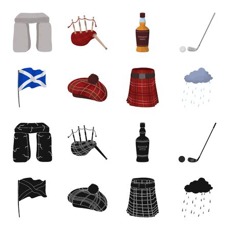 Flag, kilt, rainy weather, cap. Scotland country set collection icons in black, cartoon style vector symbol stock illustration