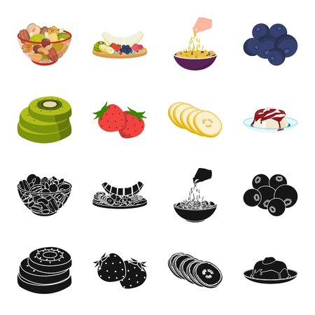 Fruits and other food. Food set collection icons in black, cartoon style vector symbol stock illustration