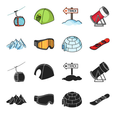 Mountains, goggles, an igloo, a snowboard. Ski resort set collection icons in black, cartoon style vector symbol stock illustration