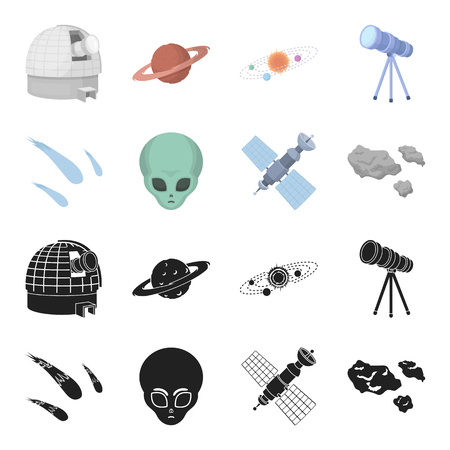 Asteroid, car, meteorite, space ship, station with solar batteries, the face of an alien. Space set collection icons in black,cartoon style vector symbol stock illustration web.