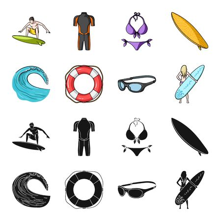 Oncoming wave, life ring, goggles, girl surfing. Surfing set collection icons in black,cartoon style vector symbol stock illustration web. Ilustrace