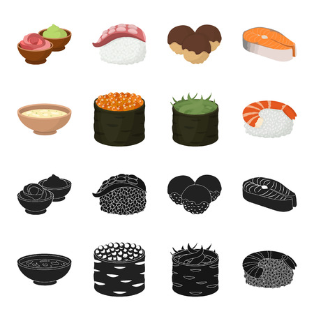 Bowl of soup, caviar, shrimp with rice. Sushi set collection icons in black, cartoon style vector symbol stock illustration