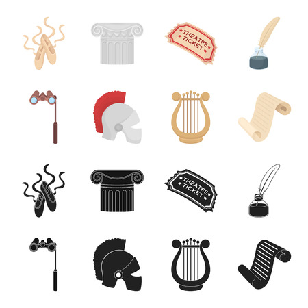 Theatrical binoculars, a helmet, a harp and a paper scroll. The theater set collection icons in black, cartoon style vector symbol stock illustration Vettoriali