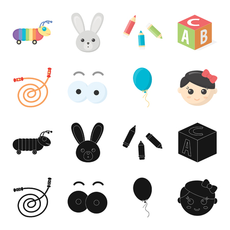 Children s toy black,cartoon icons in set collection for design. Game and bauble vector symbol stock web illustration.