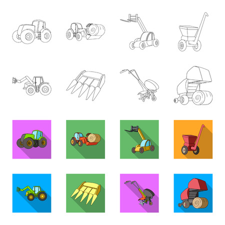 Motoblock and other agricultural devices. Agricultural machinery set collection icons in outline, flat style vector symbol stock illustration Illustration