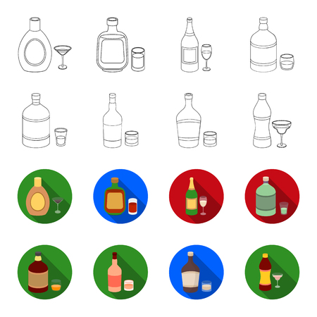 Whiskey, liquor, rum, vermouth. Alcohol set collection icons in outline, flat style vector symbol stock illustration Illustration