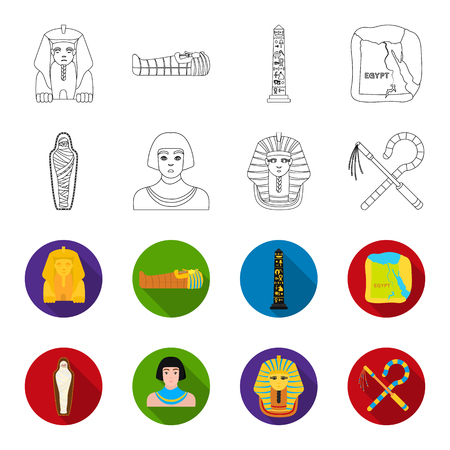 Crook and flail,a golden mask, an egyptian, a mummy in a tomb.Ancient Egypt set collection icons in outline,flet style vector symbol stock illustration web.