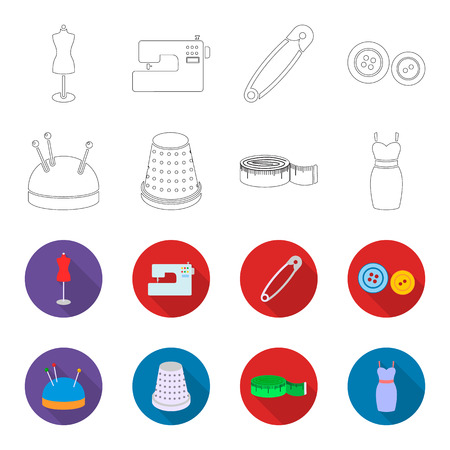 Pincushion with pins, thimble, centimeter, dress.Atelier set collection icons in outline,flet style vector symbol stock illustration web.