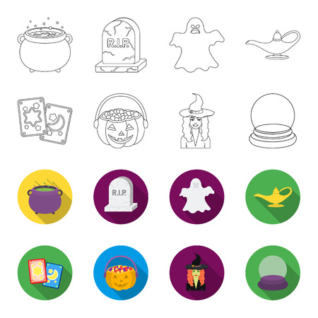 Tarot cards, holiday halloween, magician in a hat, crystal ball. Black and white magic set collection icons in outline, flat style vector symbol stock illustration