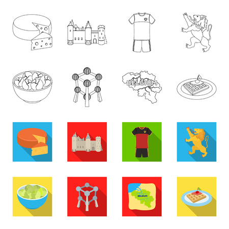 Territory on the map, brussels sprouts and other symbols of the country.Belgium set collection icons in outline,flet style vector symbol stock illustration web. Vettoriali