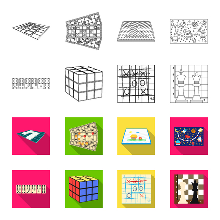 Board game outline,flet icons in set collection for design. Game and entertainment vector symbol stock web illustration. Stok Fotoğraf - 97504948