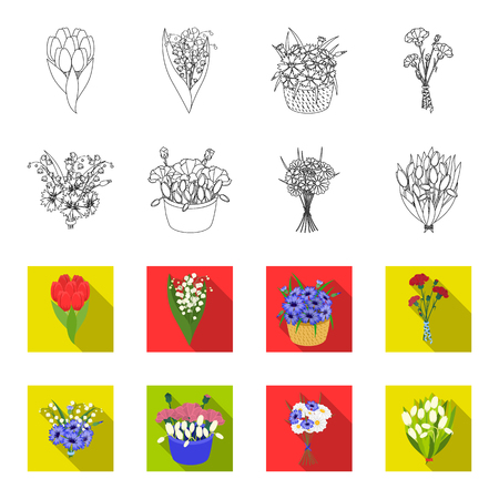 A bouquet of fresh flowers outline,flet icons in set collection for design. Various bouquets vector symbol stock web illustration.