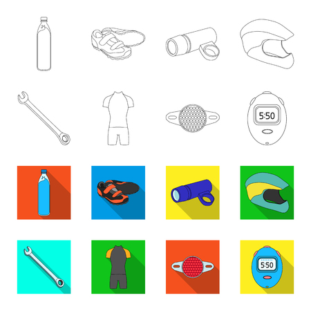 A wrench, a bicyclist s bone, a reflector, a timer.Cyclist outfit set collection icons in outline,flet style vector symbol stock illustration web. Illustration