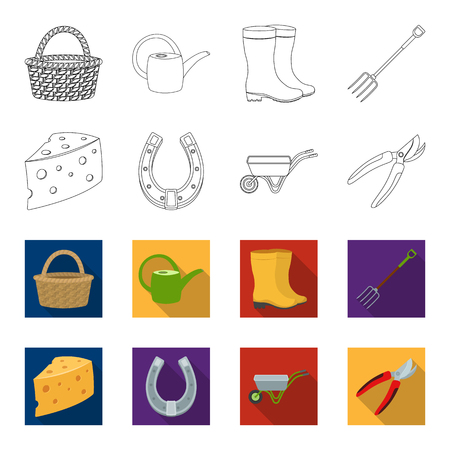 Cheese with holes, a trolley for agricultural work, a horseshoe made of metal, a pruner for cutting trees, shrubs. Farm and gardening set collection icons in outline, flat style vector symbol stock illustration
