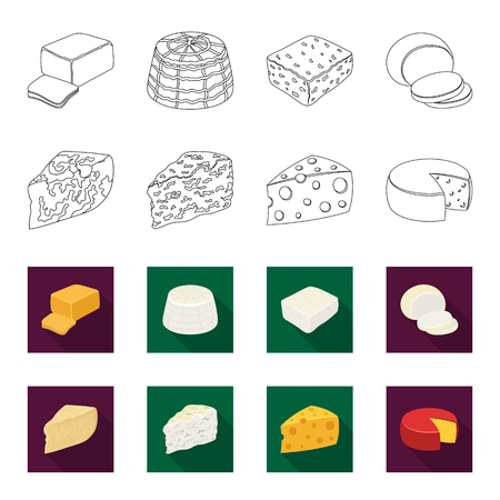Parmesan, roquefort, maasdam, gauda.Different types of cheese set collection icons in outline,flet style vector symbol stock illustration . Иллюстрация