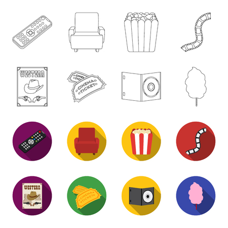 Western cinema, tickets, sweet cotton wool, film on DVD. Film  and cinema set collection icons in outline, flat style vector symbol stock illustration Illustration