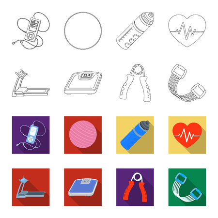 Treadmill, scales, expander and other equipment for training.Gym and workout set collection icons in outline,flet style vector symbol stock illustration .