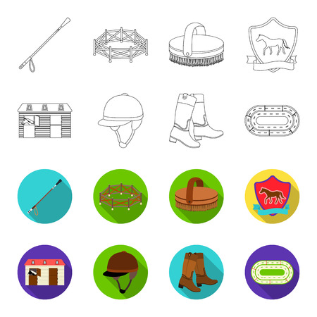 Boots, grass, stadium, track, rest .Hippodrome and horse set collection icons in outline,flet style vector symbol stock illustration .