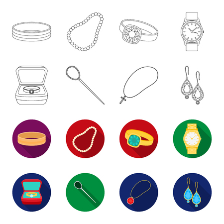 Ring in a case, hair clip, earrings with stones, a cross on a chain. Jewelry and accessories set collection icons in outline,flat style vector symbol stock illustration . Illustration