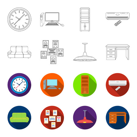 Set of office furniture collection icon illustration.