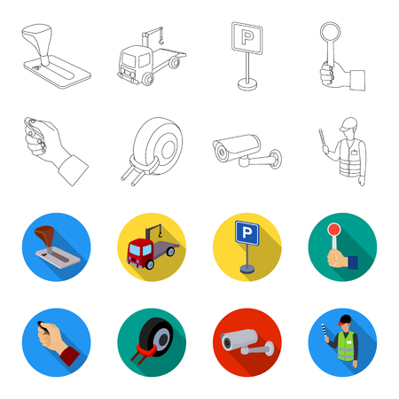 Car alarm, wheel rim, security camera, parking assistant. Parking zone set collection icons in outline,flet style vector symbol stock illustration web.