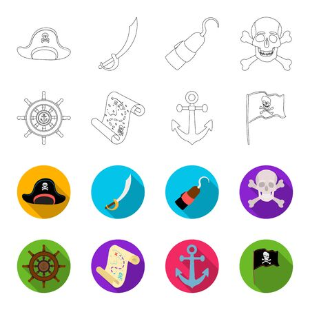 Pirate, bandit, rudder, flag .Pirates set collection icons in outline,flet style vector symbol stock illustration web.