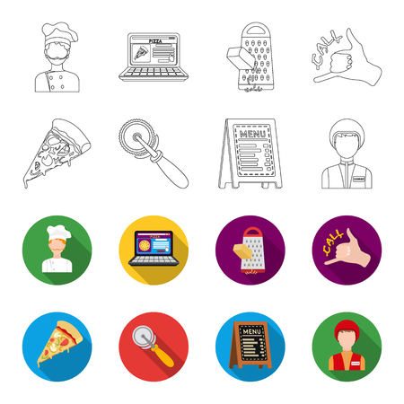 A pizza cutter, a slice, a menu in a pizzeria, a courier. Pizza and pizzeria set collection icons in outline,flet style vector symbol stock illustration web. Illustration