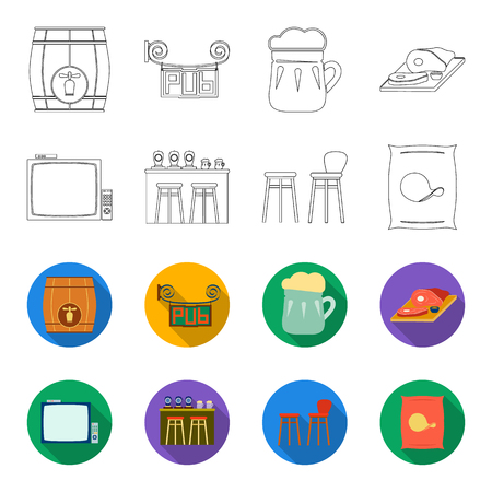 TV, bar counter, chairs and armchairs, potato chips.Pub set collection icons in outline,flat style vector symbol stock illustration . Illustration