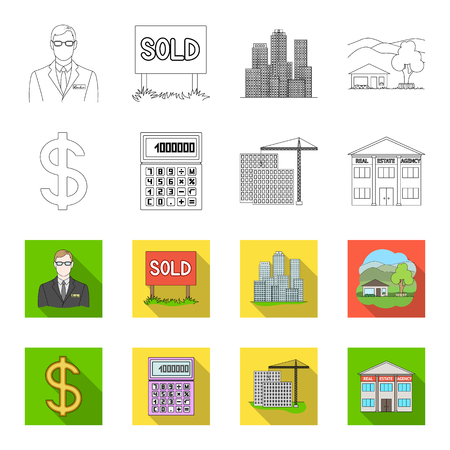 Calculator, dollar sign, new building, real estate offices. Realtor set collection icons in outline,flat style vector symbol stock illustration . Illustration