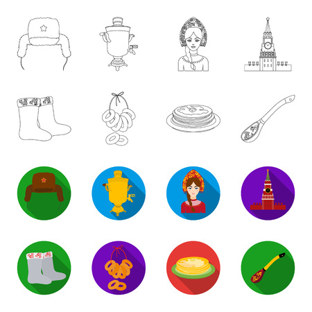 Felt, boots, drying, gingerbread .Russia country set collection icons in outline,flat style vector symbol stock illustration .