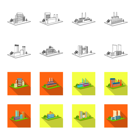 Processing factory,metallurgical plant. Factory and industry set collection icons in outline,flet style isometric vector symbol stock illustration .