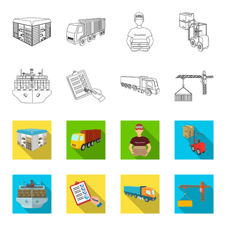 Sea freight, signature of delivery documents, truck, tower crane with a container. Logistics and delivery set collection icons in outline,flet style isometric vector symbol stock illustration . Illustration