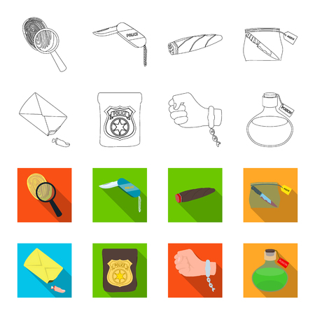 The detectives badge, the handcuff on the criminals hand, the stump of the finger in the bag, the flask with the poison. Crime and detective set collection icons in outline,flet style vector symbol stock illustration .
