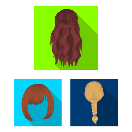 Female hairstyle flat icons in set collection for design. Stylish haircut vector symbol stock  illustration. Иллюстрация