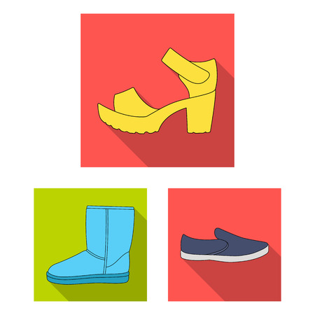 Different shoes flat icons in set collection for design. Men's and women's shoes vector symbol stock  illustration. Vettoriali