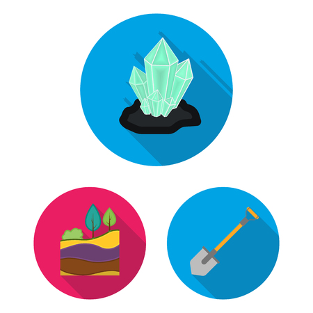 Mining industry flat icons in set collection for design. Equipment and tools vector symbol stock web illustration. Çizim
