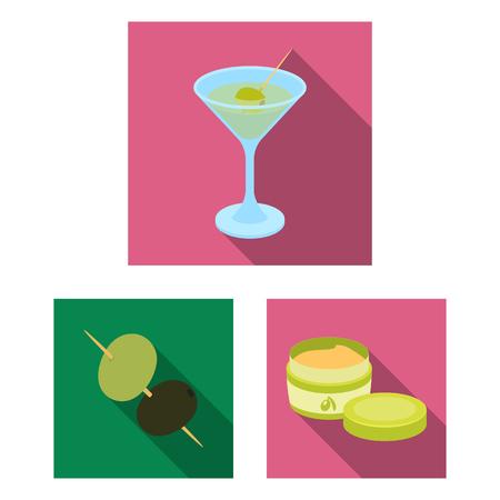 Olive, food flat icons in set collection for design. Olive oil, seasoning vector symbol stock  illustration. Reklamní fotografie - 97420527