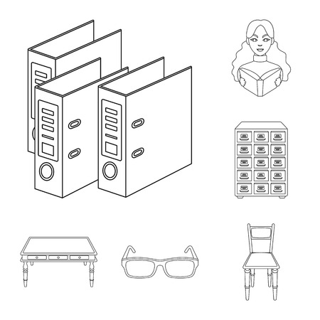 Library and bookstore outline icons in set collection for design. Books and furnishings vector symbol stock web illustration.
