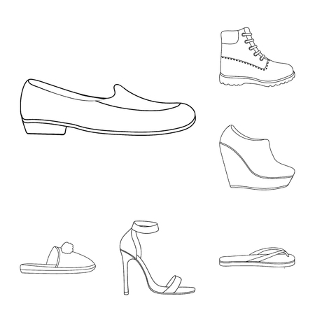 A variety of shoes outline icons in set collection for design. Boot, sneakers vector symbol stock web illustration. 向量圖像