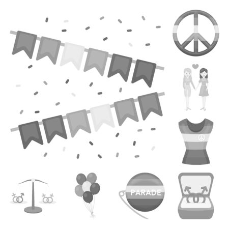 LGBT monochrome icons in set collection for design. Sexual minority and attributes vector symbol stock web illustration. Illustration