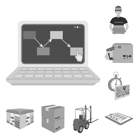 Logistics and delivery monochrome icons in set collection for design. Transport and equipment isometric vector symbol stock web illustration.